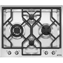 SMEG: PGF64-4 60cm Ultra-Low Profile Stainless Steel Linea 4 Burner Gas Hob