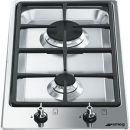 SMEG: PGF32G 30cm Stainless Steel Double Burner Domino Gas Hob